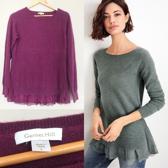 42b16cfde2 Garnet Hill Sweaters - Garnet Hill Plum Shirttail Cashmere Sweater Large